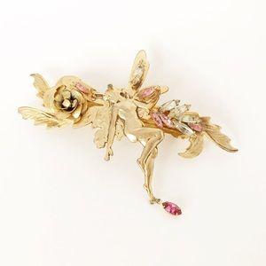 Vintage Fairy Jeweled Gold Hair Barrette Unique